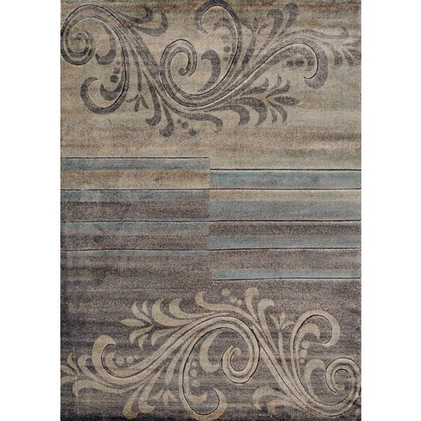 Scroll Stripe Floral Rug (3' 3 x 5')