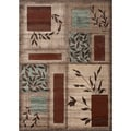 Floral Boxes Beige Area Rug (3' 3 x 5')