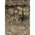 Flowers Ivory/Black Area Rug (3' 3 X 5')