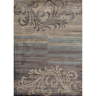 Scroll Stripe Floral Area Rug (5' 3 x 7' 3)