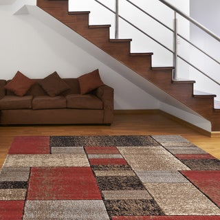 Hand-carved Shadowed Boxes Red Area Rug (7'10 x 10'2)