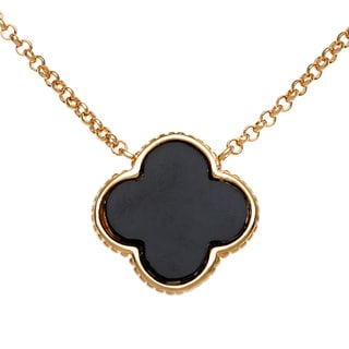 La Preciosa Gold-plated Sterling Silver Onyx Mother of Pearl Necklace