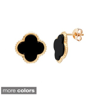 La Preciosa Sterling Silver Small Onyx Clover Stud Earrings