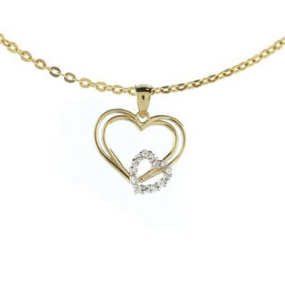 14k Yellow Gold White Cubic Zirconia Double Heart Charm Necklace