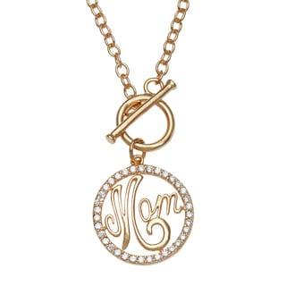 """La Preciosa Sterling Silver Goldplated CZ """"Mom"""" Toggle Necklace"""