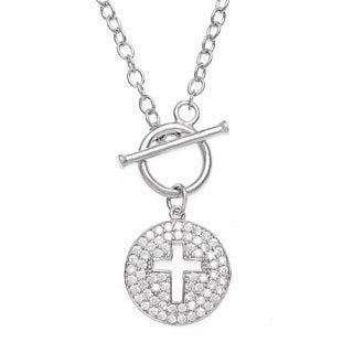 La Preciosa Sterling Silver Cubic Zirconia Cross Cut-out Toggle Necklace