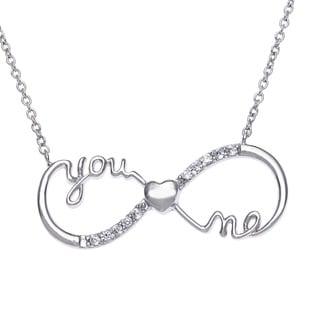 La Preciosa Sterling Silver 'You,Me' Cubic Zirconia Infinity Figure-8 Necklace