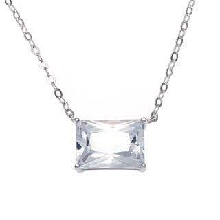 La Preciosa Sterling Silver Large Emeral-cut Cubic Zirconia Necklace