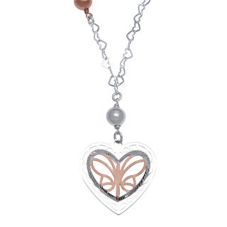 La Preciosa Rose and Sterling Silver Laser-cut Butterfly Heart Necklace