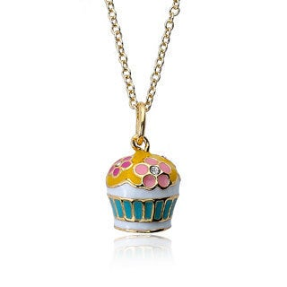 Little Miss Twin Starts 14k Gold Plated Children's Pink/ Hot Pink Flower Topped Cupcake Necklace