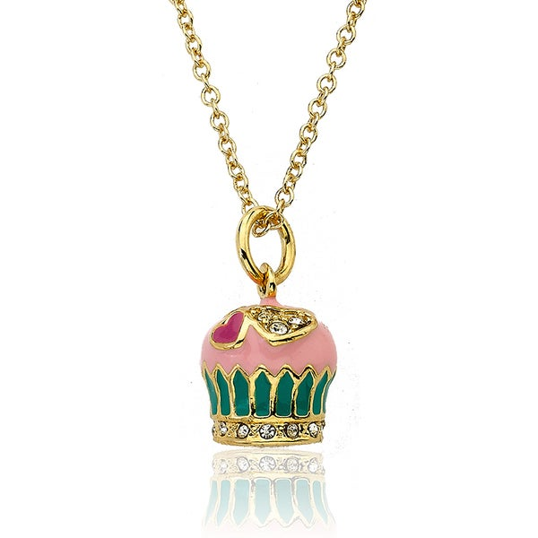 Little Miss Twin Stars 14k Yellow Gold Plated Children's Strawberry Frosted Cupcake Necklace