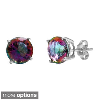 La Preciosa Sterling Silver Mystic CZ Circle Stud Earrings