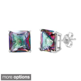 La Preciosa Sterling Silver Mystic CZ Princess-cut Stud Earrings