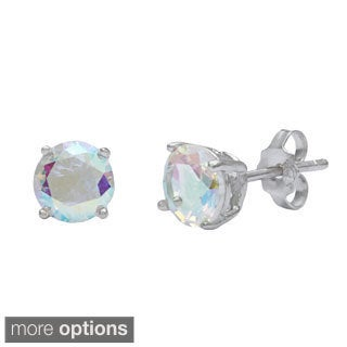 La Preciosa Sterling Silver Aurora Borealis CZ Circle Stud Earrings