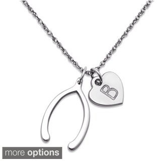 Sterling Silver Make a Wishbone Personalized Heart Charm Necklace