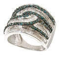 Sterling Silver 1 3/4ct TDW Blue/ White Diamond Ring (H-I, I2-I3)