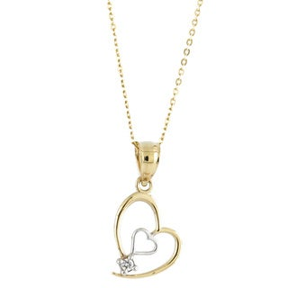 14k Two-tone Gold White Cubic Zirconia Asymmetrical Double Heart Charm Necklace