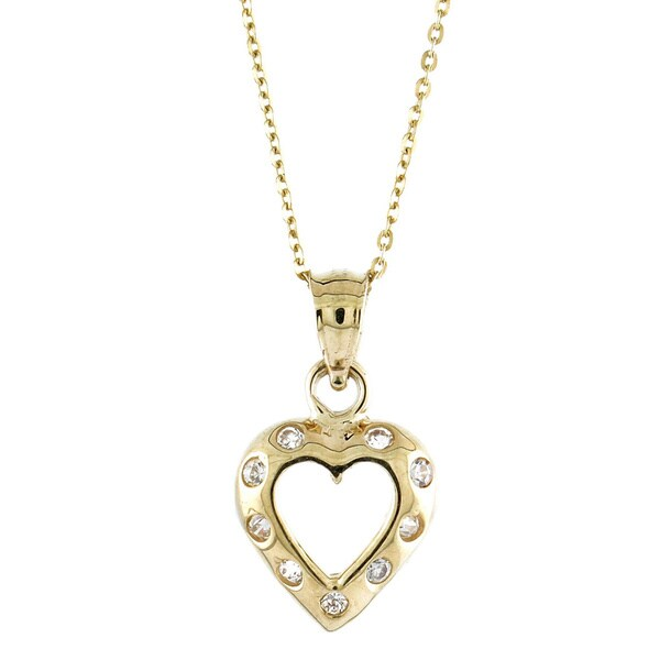 14k Yellow Gold Cubic Zirconia Embedded Open Heart Charm Necklace