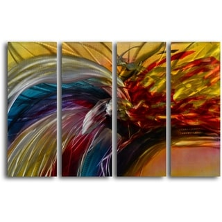 'Phoenix and the Rainbow' Handcrafted 4-piece Metal Wall Art Set