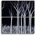 'Titanium Forest' Handcrafted 4-piece Metal Wall Art Set