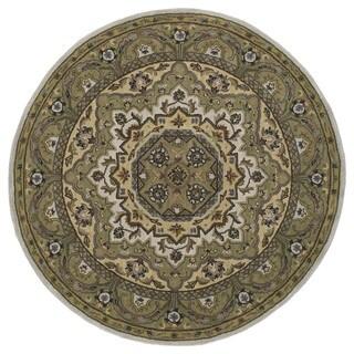 Hand-tufted Scarlett Medallion Beige/ Sage Green Round Rug (3'9)