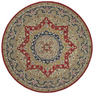 Hand-tufted Scarlett Medallion Red/ Navy Round Rug (11'9)