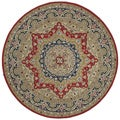 Hand-tufted Scarlett Medallion Red/ Navy Round Rug (5'9)