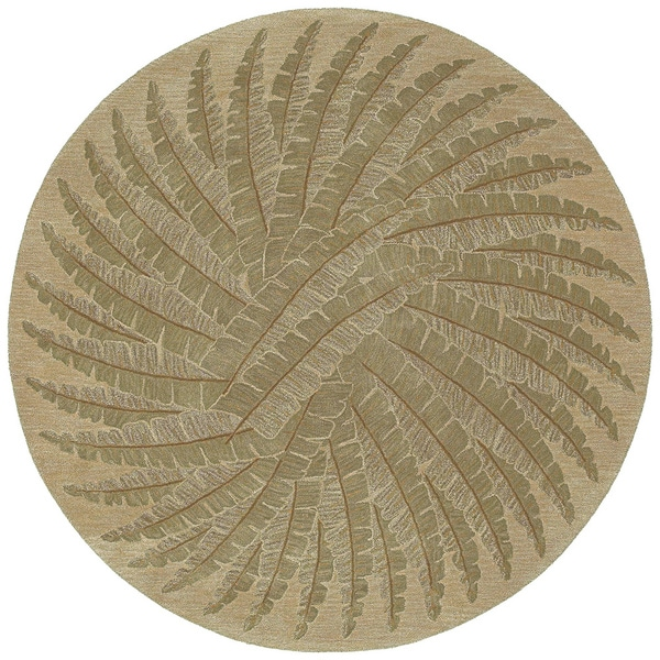 Hand-tufted Scarlett Green Palm Round Rug (5'9)