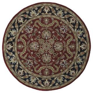 Hand-tufted Scarlett 'Agra' Burgundy/ Black Round Rug (11'9)