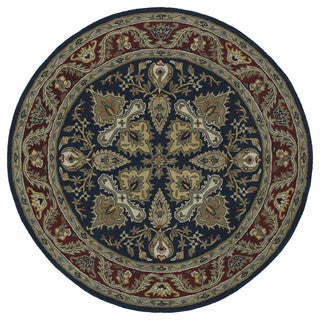 Hand-tufted Scarlett 'Diamond' Navy/ Burgundy Round Wool Rug (11'9)