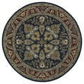 Hand-tufted Scarlett 'Diamond' Navy/ Burgundy Round Wool Rug (3'9)