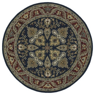 Hand-tufted Scarlett 'Diamond' Navy/ Burgundy Round Wool Rug (5'9)