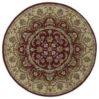 Hand-tufted Scarlett Burgundy Flower Round Wool Rug (11'9)