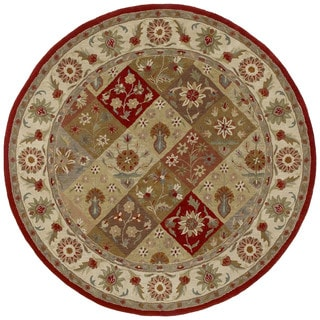 Hand-tufted Scarlett Raspberry Panel Round Wool Rug (3'9)