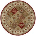 Hand-tufted Scarlett Raspberry Panel Round Wool Rug (5'9)
