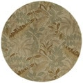 Hand-tufted Scarlett Forest Green Round Wool Rug (3'9)