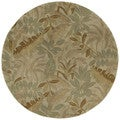 Hand-tufted Scarlett Forest Green Round Wool Rug (5'9)