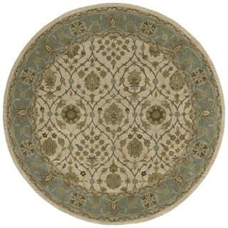 Hand-tufted Scarlett 'Morris' Beige/ Blueish Green Round Wool Rug (7'9)