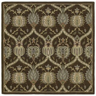 Hand-tufted Scarlett Brown William Morris Brown Wool Rug (5'9 Square)