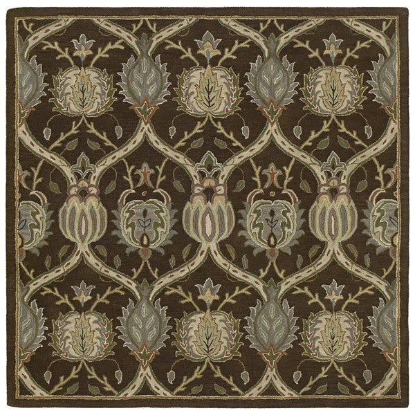 Hand-tufted Scarlett Brown William Morris Brown Wool Rug (5'9 Square)