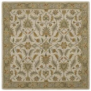 Hand-tufted Scarlett Beige/ Sage Green Square Wool Rug (9'9 x 9'9)