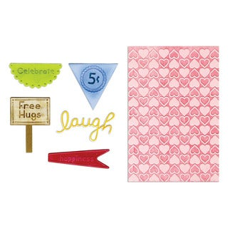 Sizzix Framelits Happy Hearts Die/ Textured Impressions Set by Deena Ziegler (5 Pack)