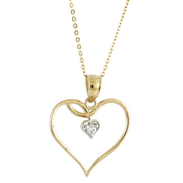 14k Two-tone Gold Fashionable Cubic Zirconia Vine Double Heart Charm Necklace