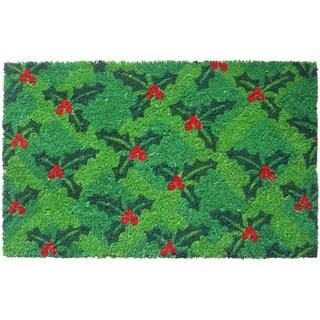 Holly Green/ Red Non-slip Coir Doormat (2'1 x 2'4)