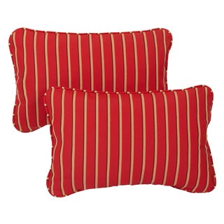 Red/Gold Stripe Corded 13 x 20 inch Indoor/ Outdoor Pillows with Sunbrella Fabric (Set of 2)
