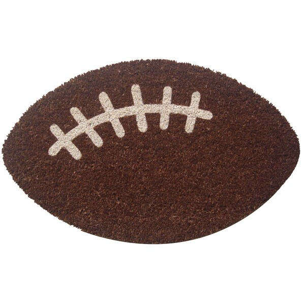 Football Brown/ White Non-slip Coir Doormat (2' x 2'4)