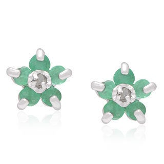 Dolce Giavonna Sterling Silver Round Diamond Accent Emerald Stud Earrings