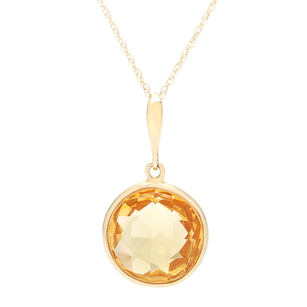 14k Yellow Gold Citrine Rope-chain Necklace