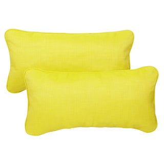 Yellow Green Corded 12 x 24 inch Indoor/ Outdoor Lumbar Pillows with Sunbrella Fabric (Set of 2)