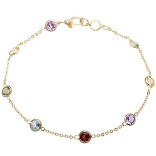 10k Yellow Gold Multi-gemstone Link Bracelet